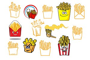 Cartoon french fries takeaway food d