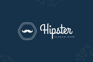 Mustache Hipster Modern Logo
