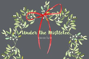 Mistletoe. Watercolor clipart.