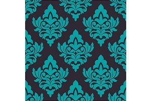 Floral turquoise damask seamless pat