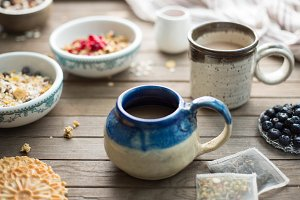 Rustic Autumn Breakfast with Mugs