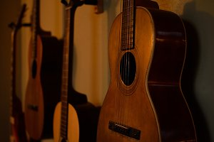 Vintage Parlor Guitars on Wall