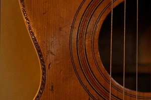 Closeup of Vintage Parlor Guitar