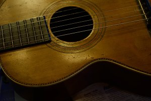 Vintage Parlor Guitar on Table