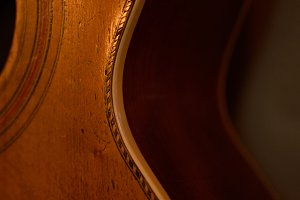 Side Detail of Vintage Parlor Guitar