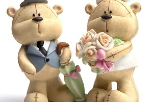 Bears in the wedding clothes
