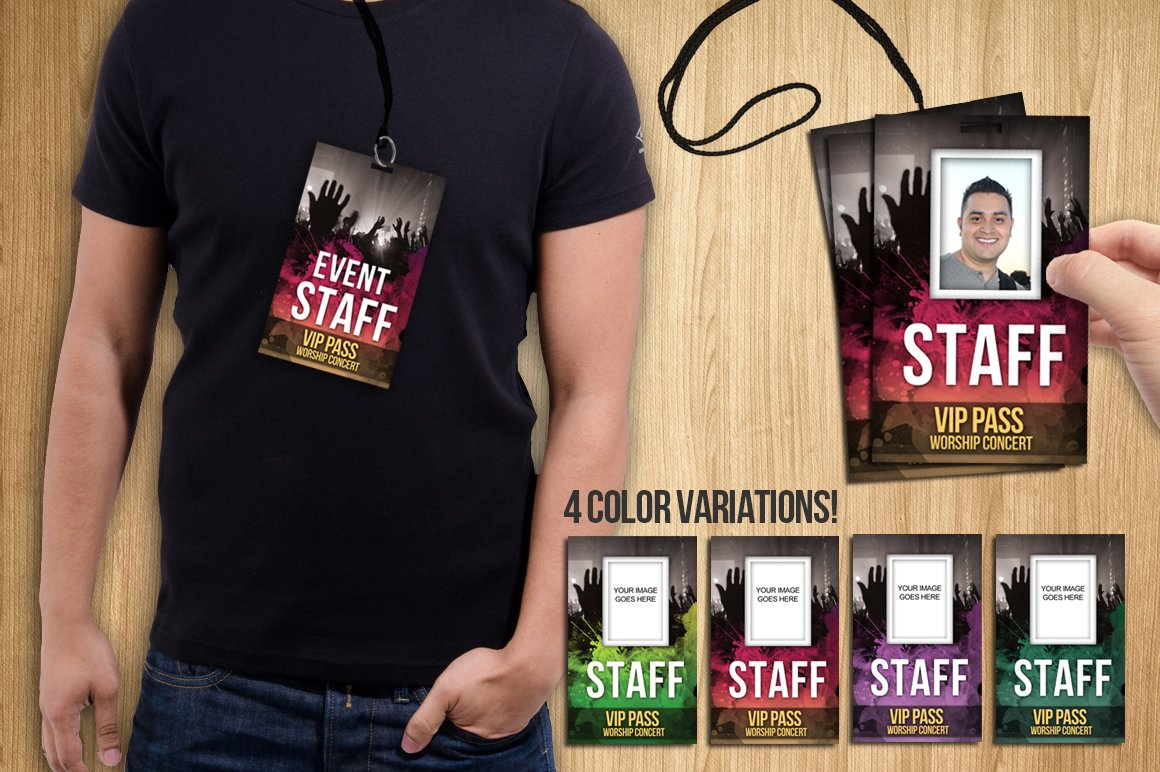 Badge PSD Template VIP PASS Card Templates Creative Market - Event badge template