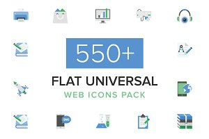 550+ Flat Universal Web Icons Pack
