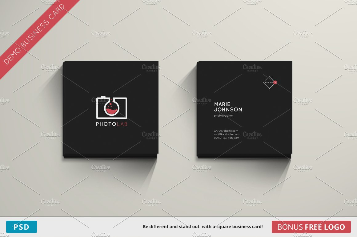 photolab business card square business card templates creative market. Black Bedroom Furniture Sets. Home Design Ideas