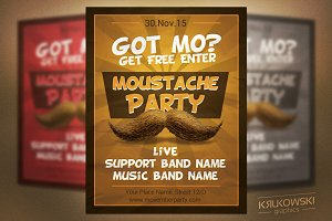Moustache Party Flyer Template