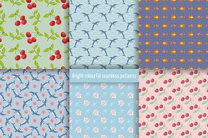 Bright colourful seamless patterns