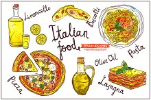 Watercolor Italian Food