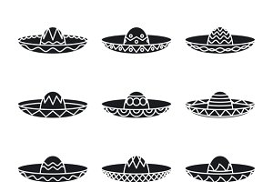 Vector set of mexican sombrero hat