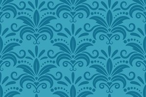 Damask floral royal wallpaper