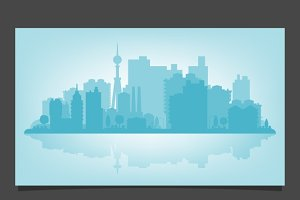 Vector urban skyline with relections