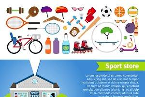 Sport store. Sports equipment