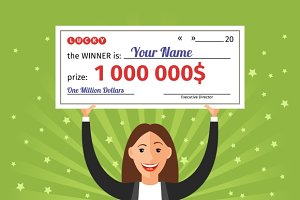 Woman with million dollar check