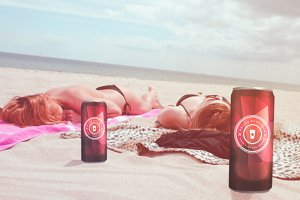 Cans on Beach Mockup