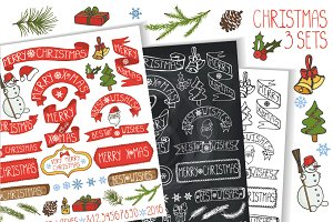 Christmas ribbons & headlines sets