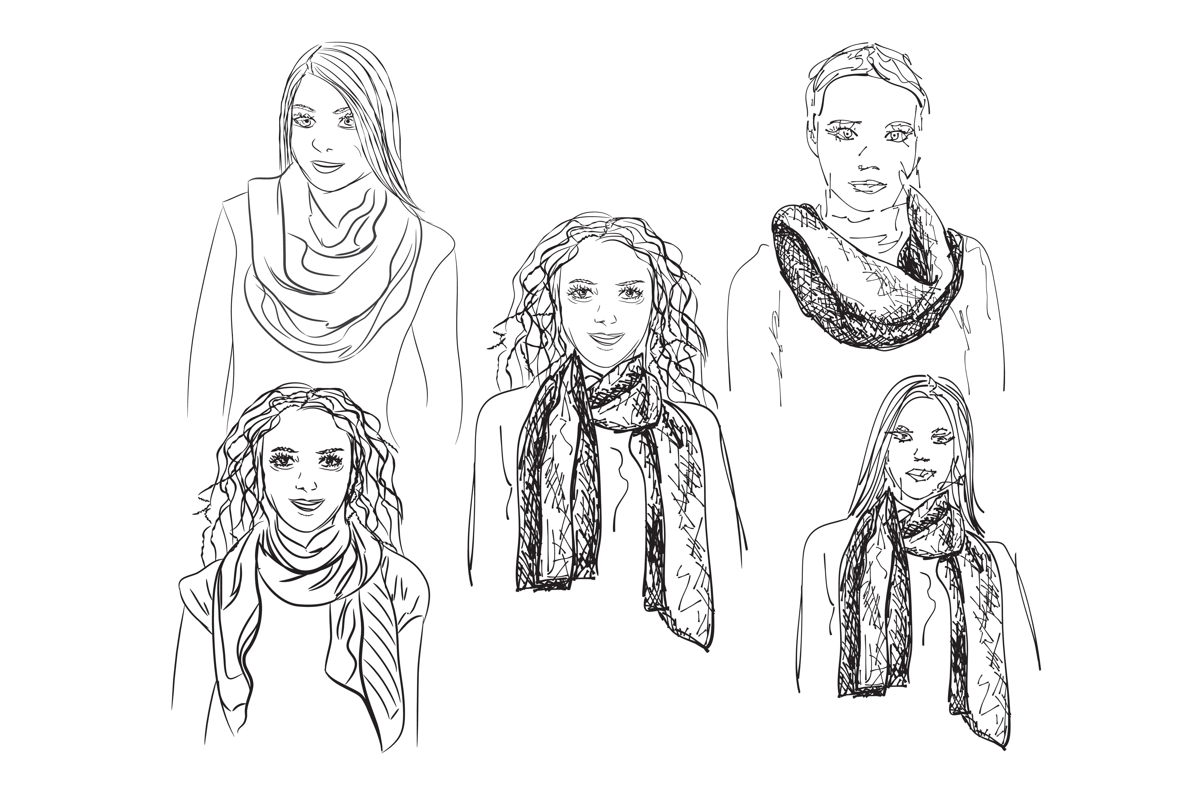 Girls in the scarf sketch ~ Illustrations ~ Creative Market