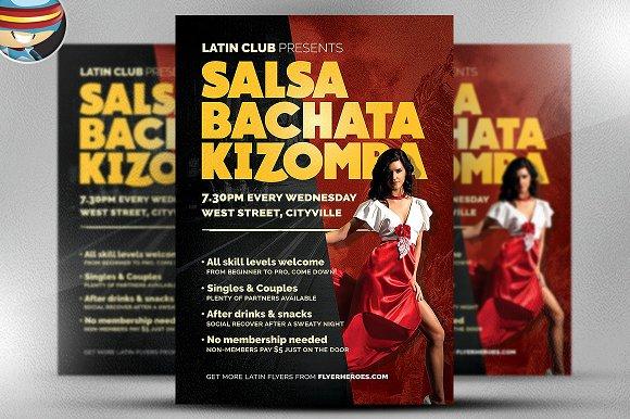 latin dance night flyer template flyer templates creative market. Black Bedroom Furniture Sets. Home Design Ideas