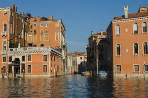 Orange buildings in Venice