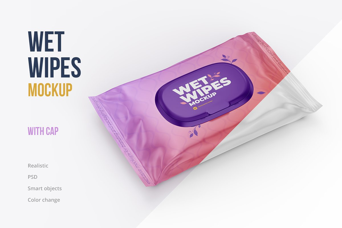 Wet Wipes With Cap Mockup Angled Creative Product Mockups