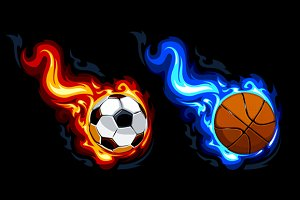 Burning Balls Vector Art