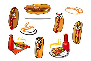 Hotdog cartoon characters and symbol
