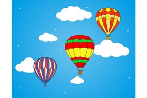 Air balloons and clouds wallpaper