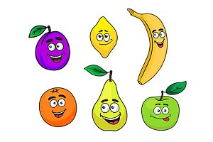 Happy smiling cartoon fruits set