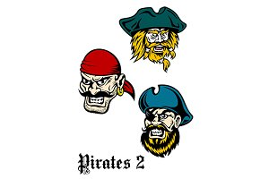 Cartoon brutal pirate captains set