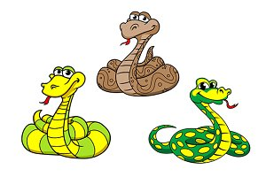 Cartoon snake characters set