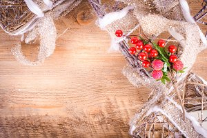 Christmas rustic boxes and berries
