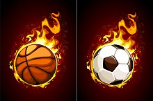 Flaming Balls Vector Art