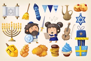 Set of elements for Hanukkah card