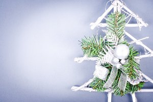 Christmas snowy tree with silver bal