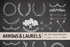 Hand Drawn clipart laurels and arrow