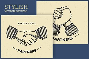 Business handshaking retro vector