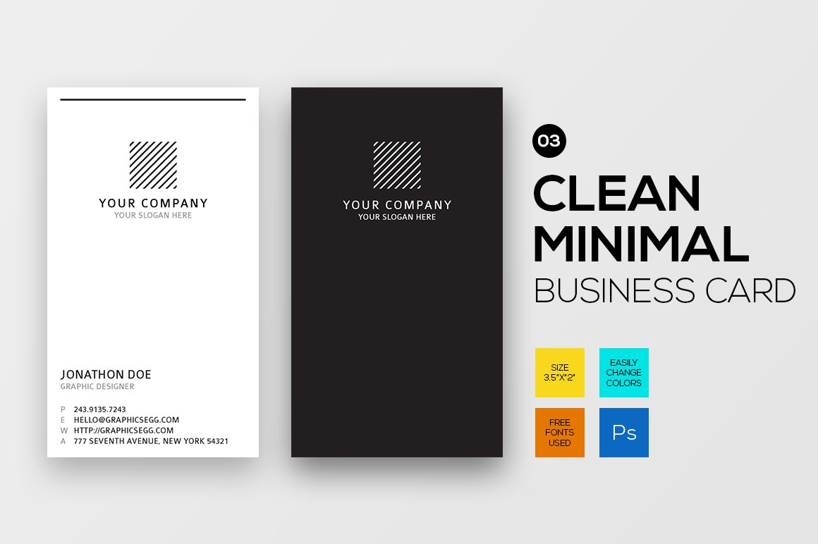 Clean Minimal vertical business card ~ Business Card Templates ...