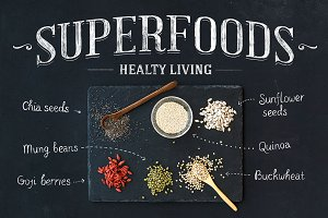 Superfoods on black chalkboard