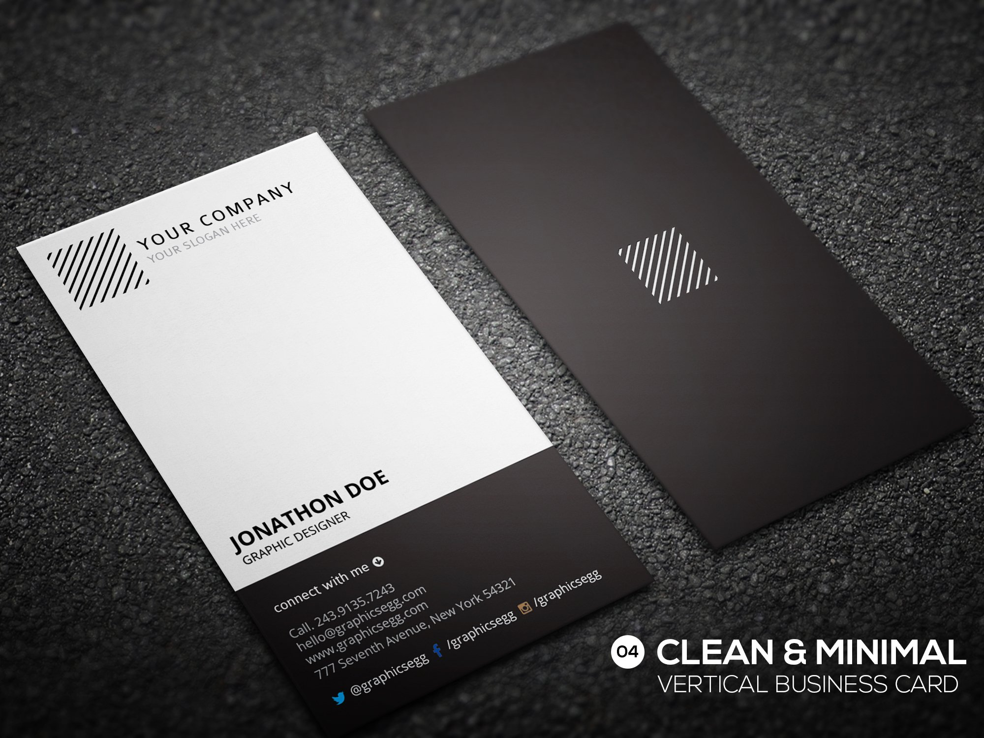 Clean minimal vertical business card business card templates clean minimal vertical business card business card templates creative market alramifo Image collections