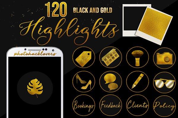 Gold n black Instagram Highlights