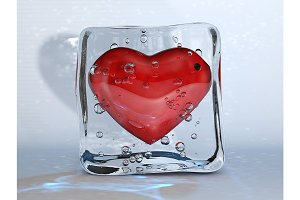 Red Heart in the Ice Cube