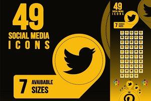 49 NEW COLOR SOCIAL MEDIA ICON SET