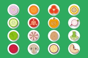 Vector vegetables set of icons round