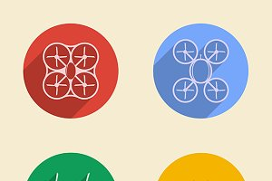 Quadrocopter four vector color icon