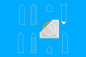 Condoms white line vector icons