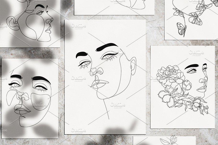 Line Art Female Potraits Bundle