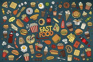 Set of Fast Food elements